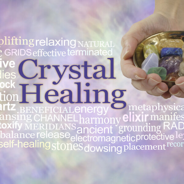 Crystal healing word cloud banner - female crystal therapist off